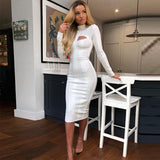LOLA bodycon cut-out midi dress in white