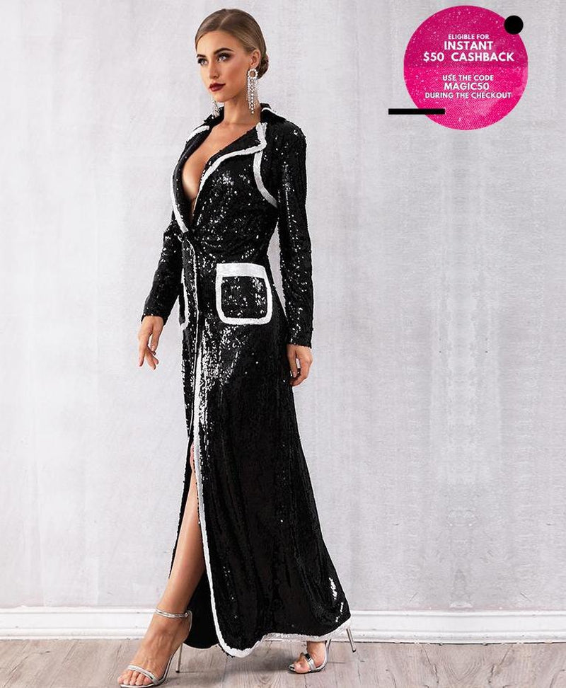 SEQUINED GOWN IN BLACK