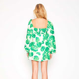 JADEY PUFF SLEEVES MINI DRESS IN GREEN
