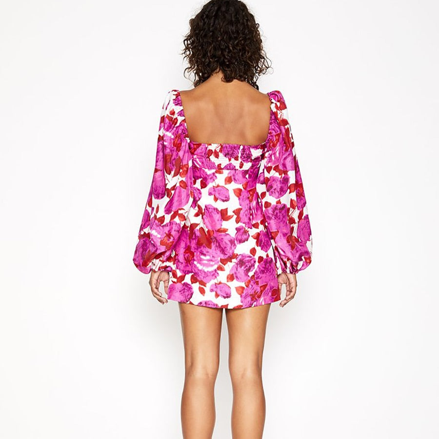JADEY LANTERN SLEEVES MINI DRESS IN PINK