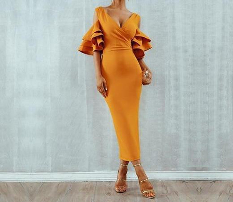Dionne ruffled sleeves maxi dress in mustard yellow