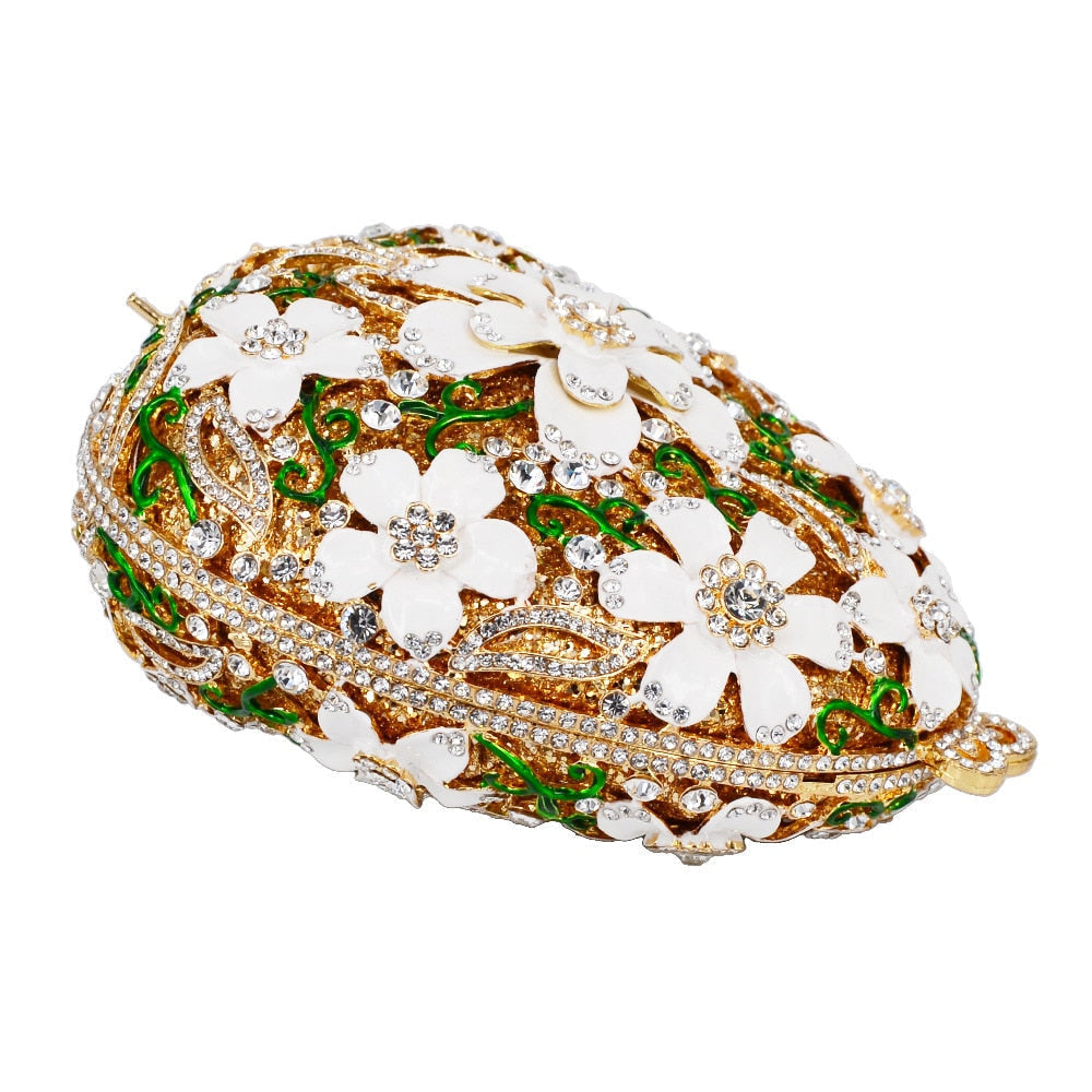 DAISIES egg shape embellished clutch