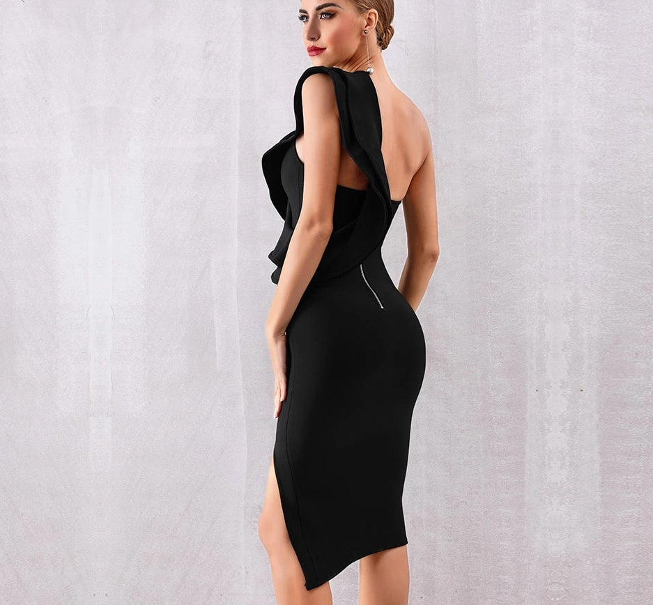 One-shoulder cut-out black midi dress
