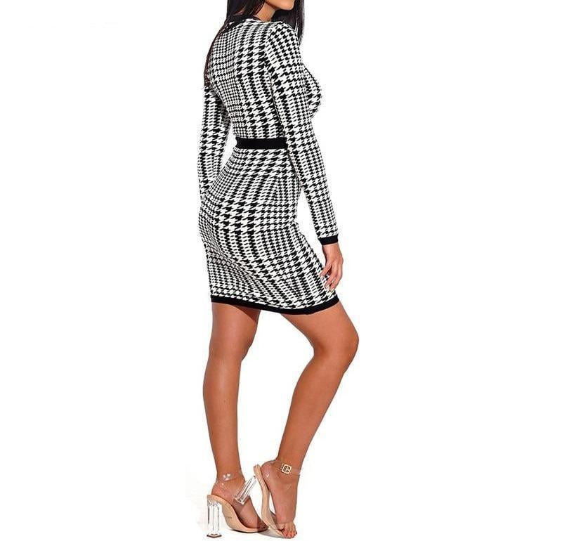 LONG-SLEEVE PLAID MINI DRESS WITH MESH NECKLINE