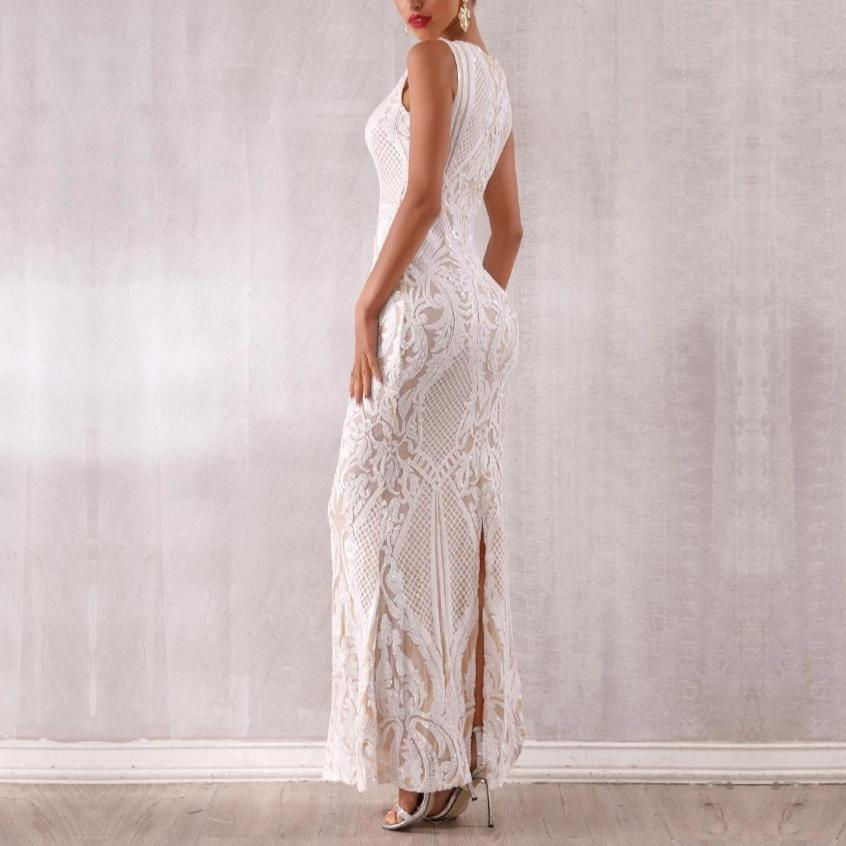 MILDRED white lace maxi dress