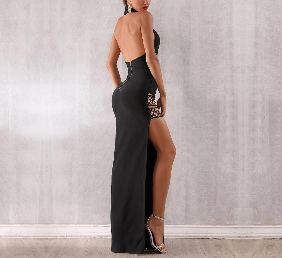 Jolene halter side slit evening gown