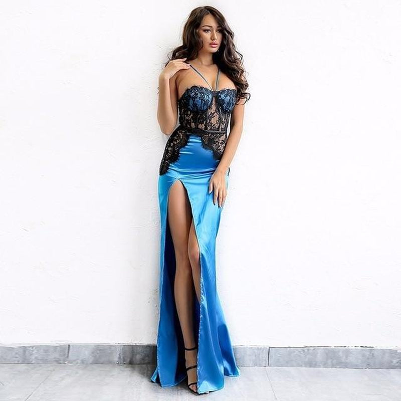 Ariel halter lace maxi cut-out dress in blue