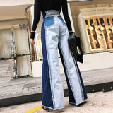 High-waist wide-leg denim pants