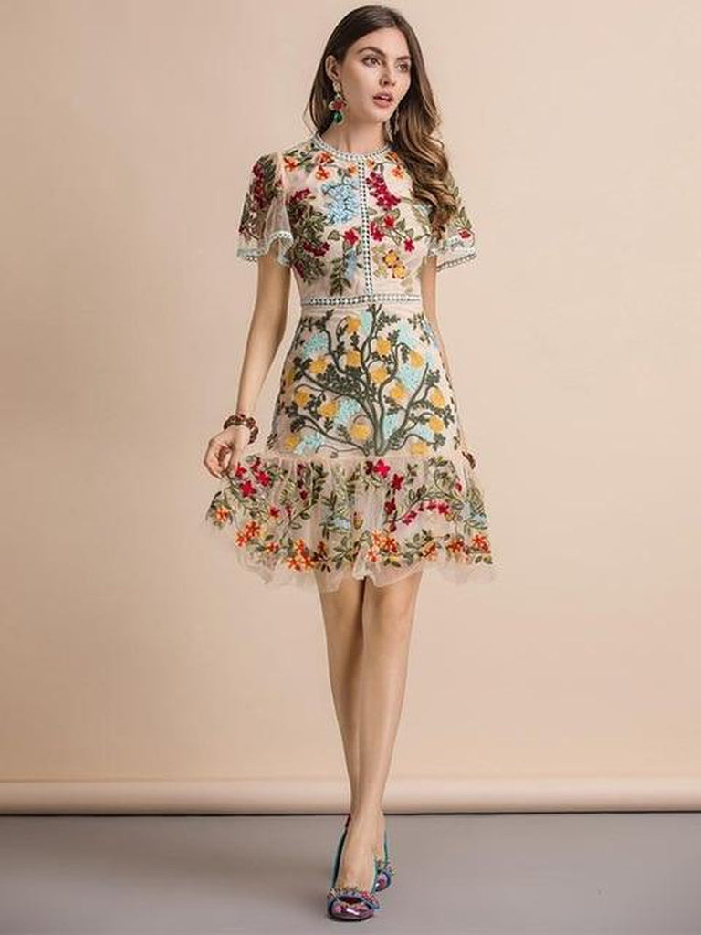 Floral embroidered flare mini dress