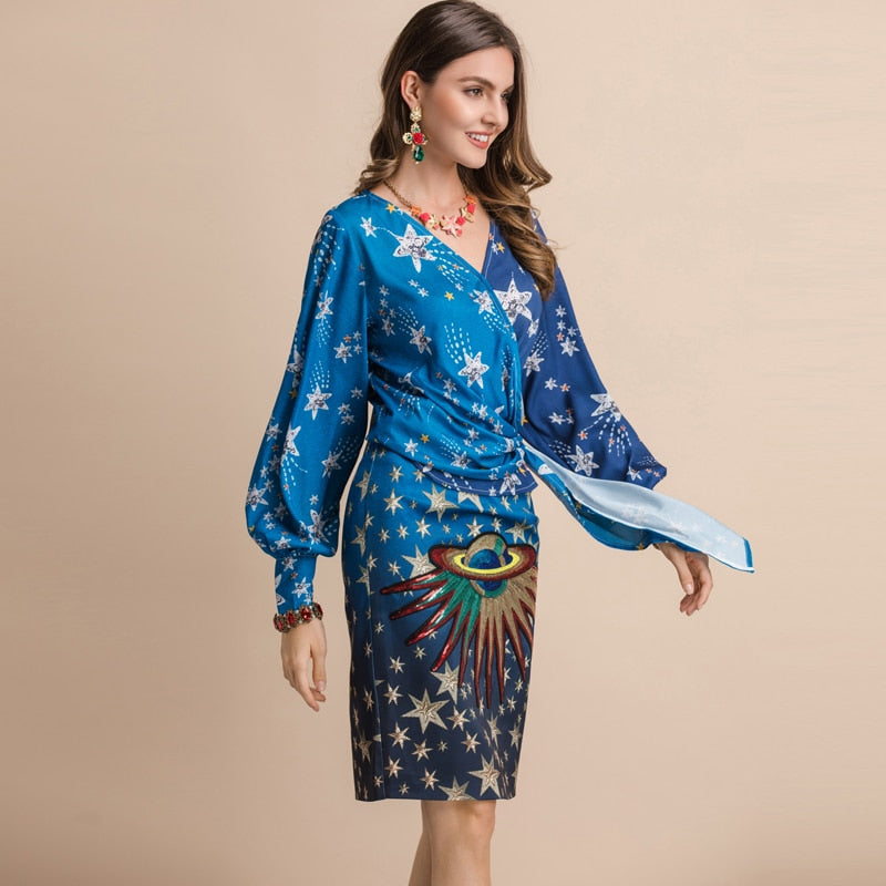 Starsy appliqued wrap mini dress