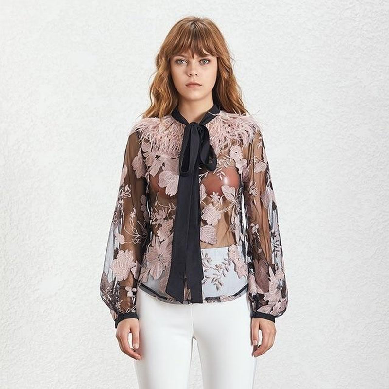 Cazette pink mesh blouse with bow