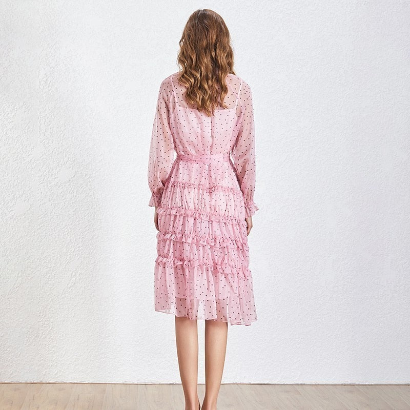 Lolly polka dot pink ruffled midi dress