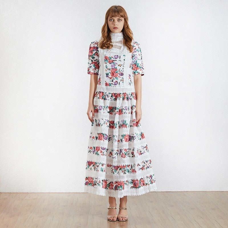 Turtleneck floral maxi dress