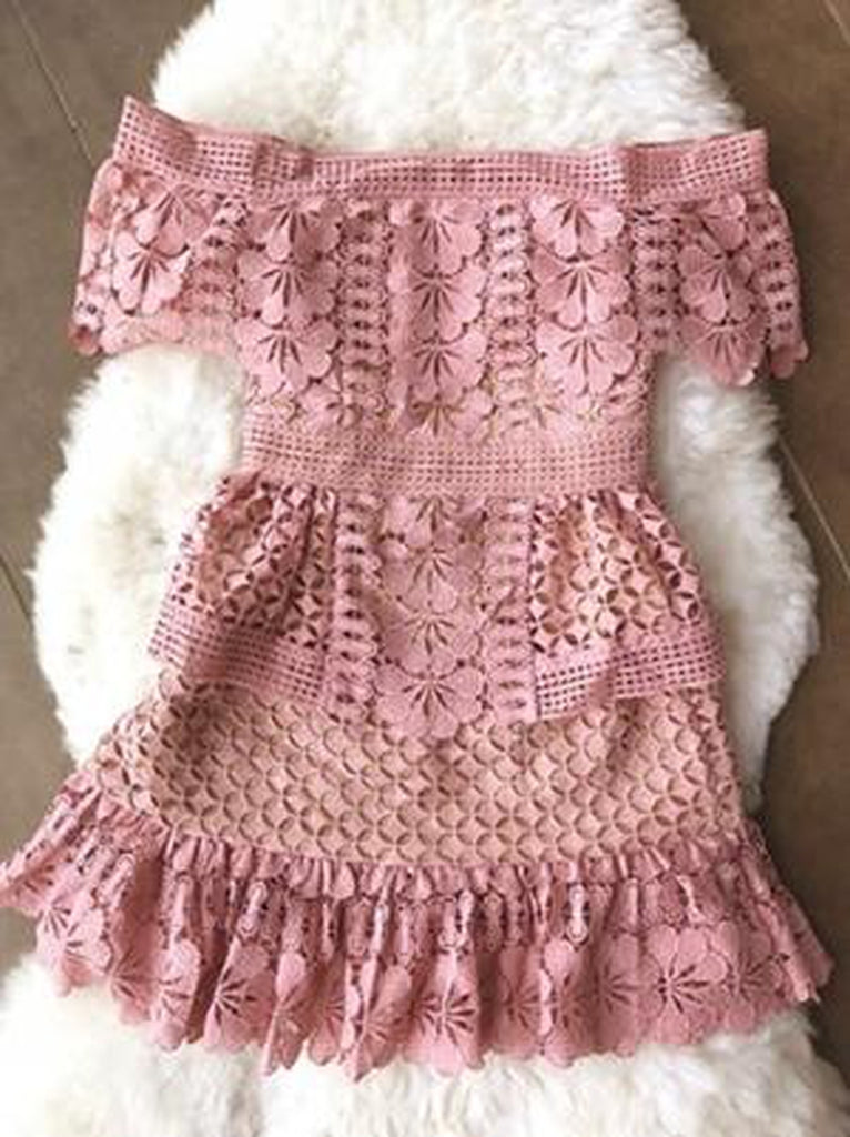 Rouge lace off-shoulder mini dress in pink