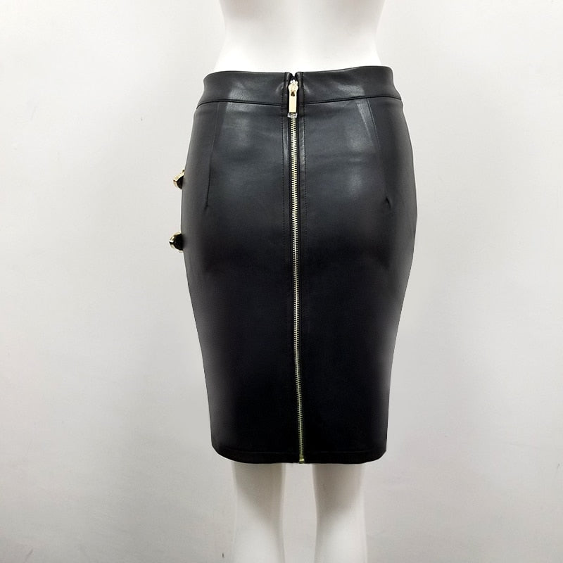 Slit buckle mini skirt