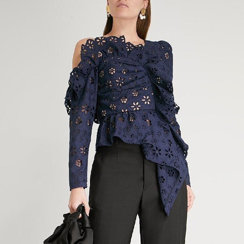 Asymmetrical hollow-out off-shoulder top in navy