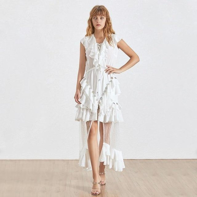 Laura ruffled mesh midi dress in white
