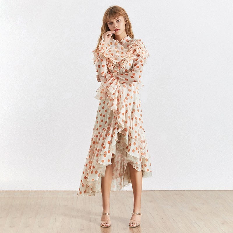 Tatiana polka dot chiffon ruffled midi dress
