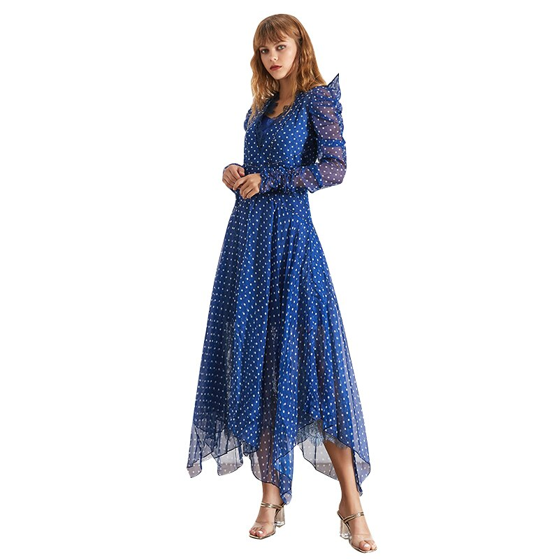 Tiana polka dot asymmetric maxi dress in blue