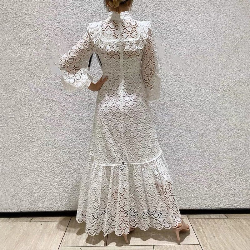 Morandi lantern sleeved lace maxi dress