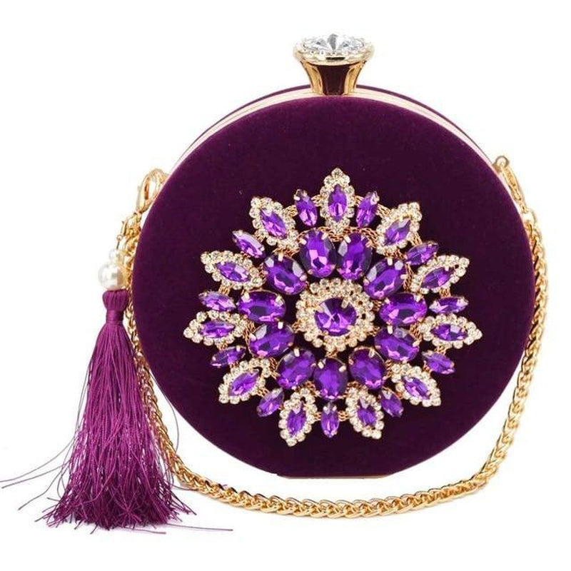 Purple gem round tasseled wrist clutch