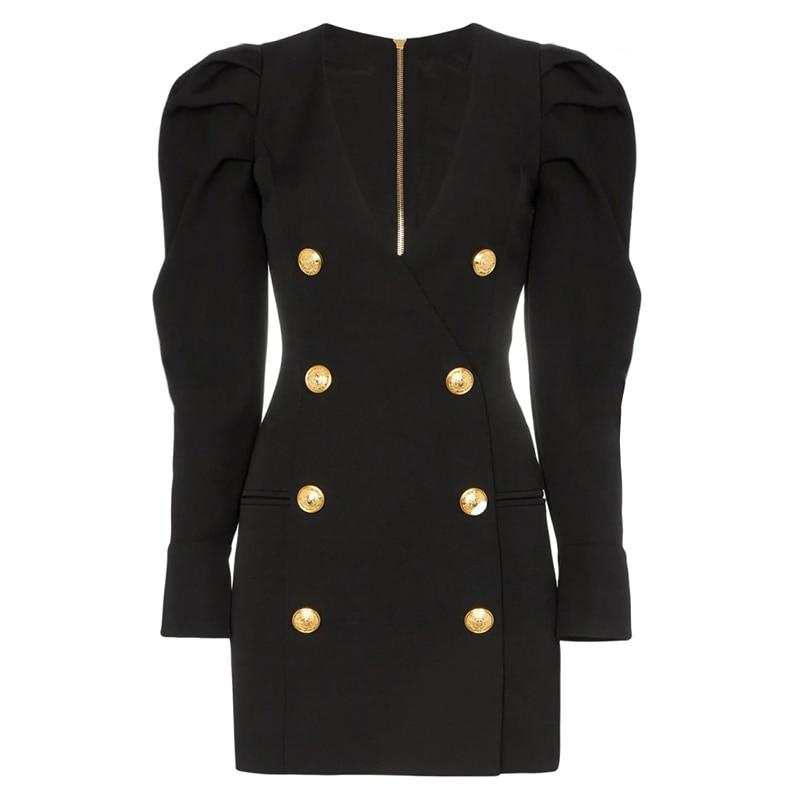 Rory double-breasted puff sleeved blazer dress