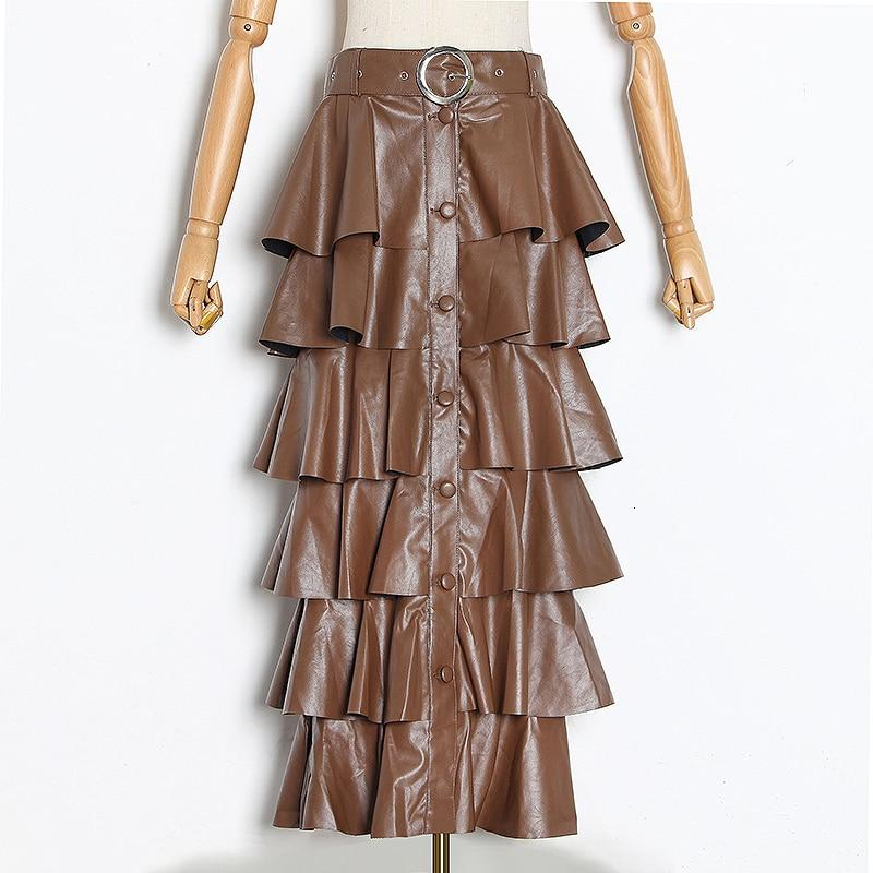 Ruffled faux leather skirt