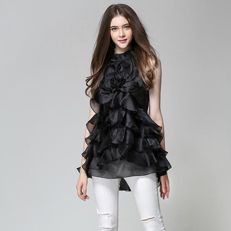 Ruffled organza long blouse