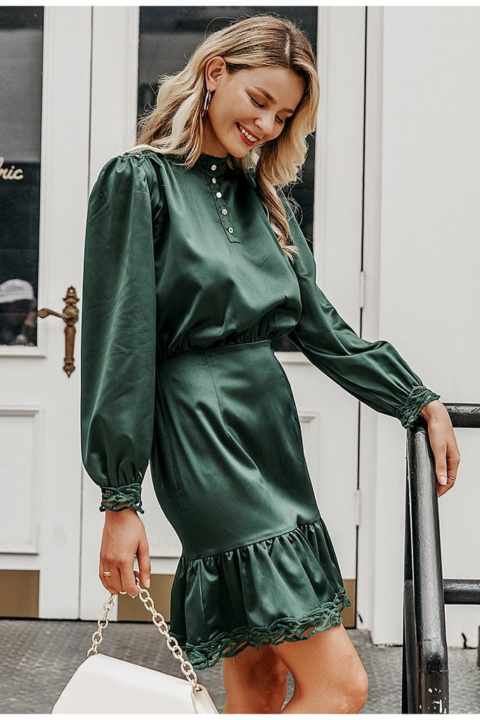 Satin ruffled mini dress in dark green