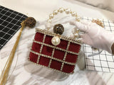 SECRET BOX crystal-embellished purse in burgundy