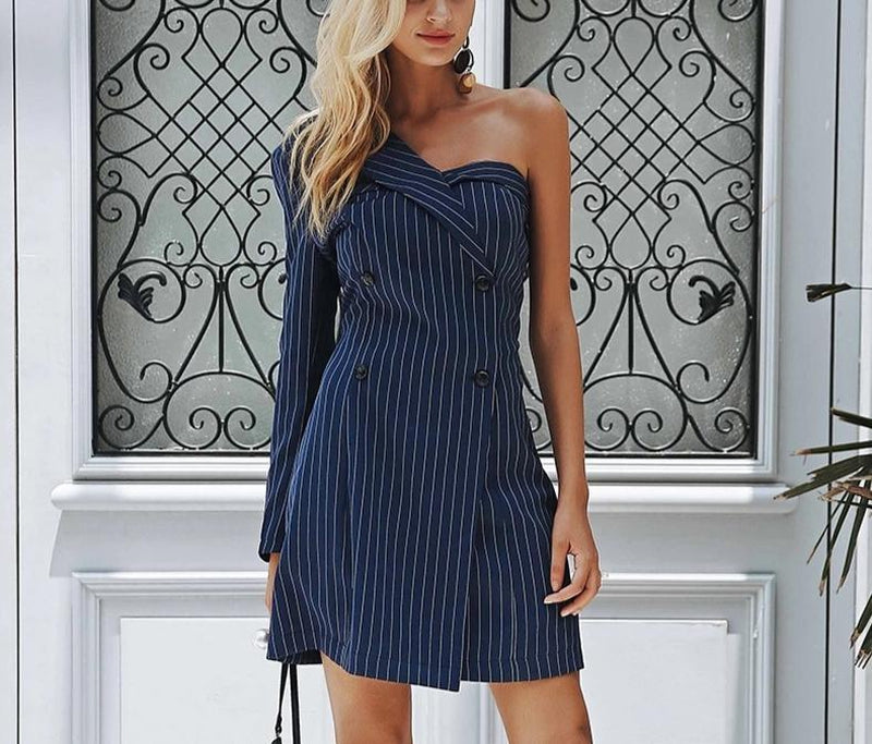 SLOANE striped one-shoulder navy blue dress