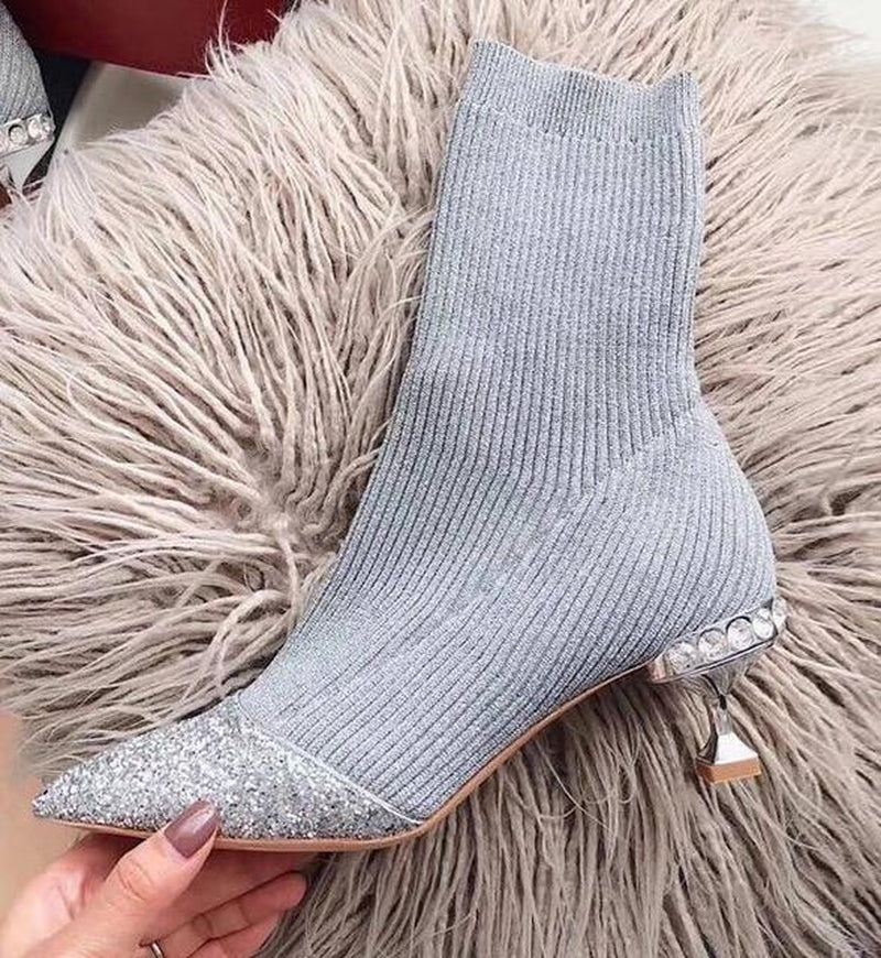 Sock boots with sequinned toe in gray