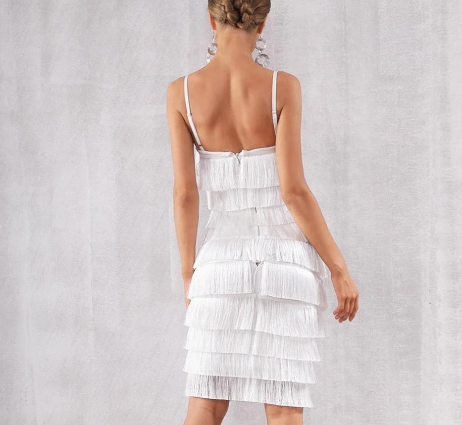Spaghetti straps fringe white midi dress