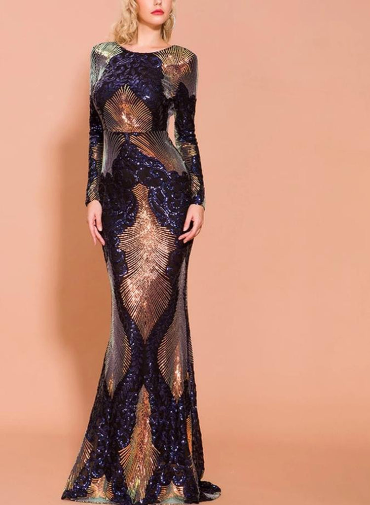 VOLCANA sequinned maxi dress