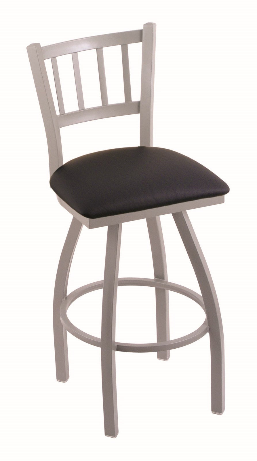 Contessa 36 swivel extra tall bar stool anodized nickel black vinyl