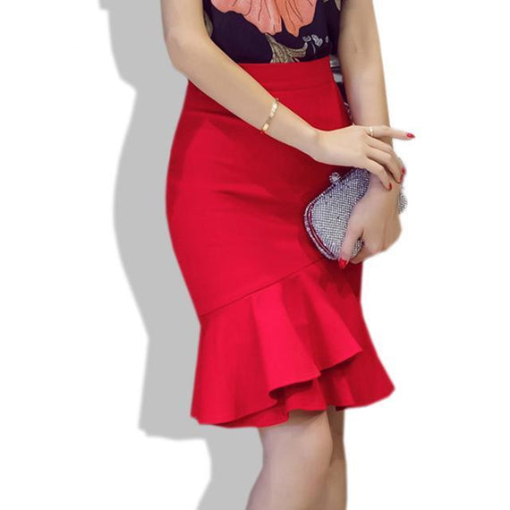 Mermaid Pencil Skirt - Red