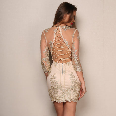 Summer Backless Lace-Up Mini Dress
