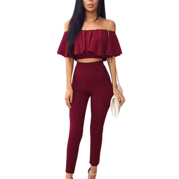 Ruffles  Off Shoulder Blouse and Long Pants