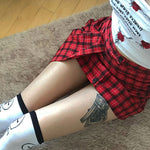 Checkered Lace-up Skirt