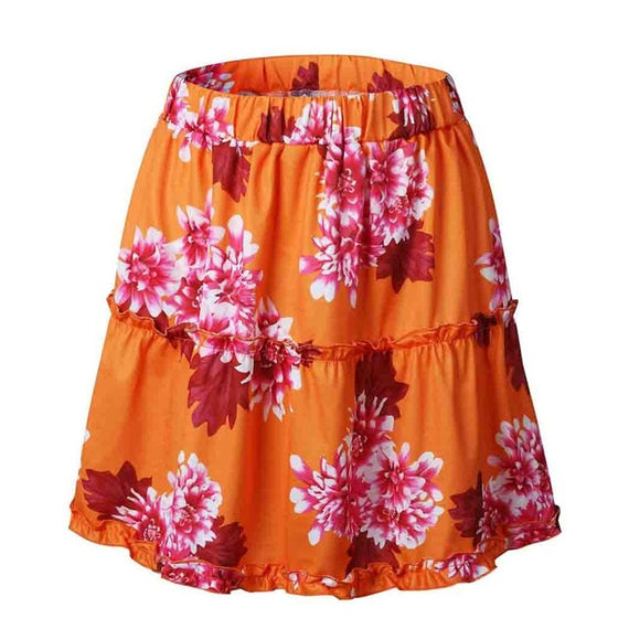 Boho Tiered Ruffle Skirt - Orange