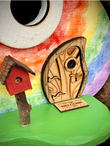 Watercolor Tie Dye Whimsical Birdhouse