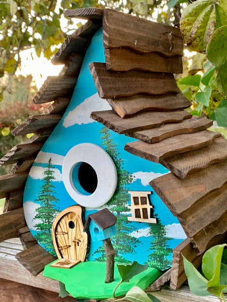 Happy Trees Sky Whimsical Birdhouse