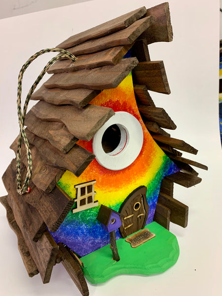 Tie Dye Crooked Birdhouse