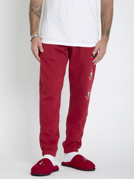 JOGGER EN MOLLETON SANTASTONE - DEEP RED