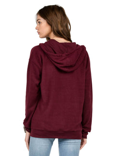 Sweatshirt zippé à capuche Lived In - Merlot