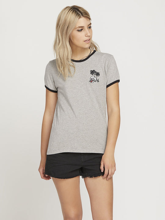 T-shirt Keep Goin Ringer - Heather Grey