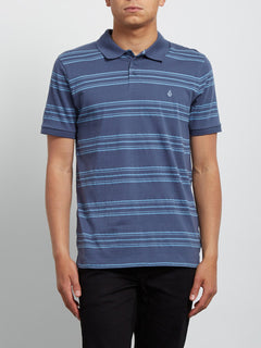Kurzärmliges Polo-Shirt Wowzer Stripe - Deep Blue