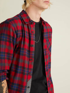 Caden Plaid  Hemd - Engine Red