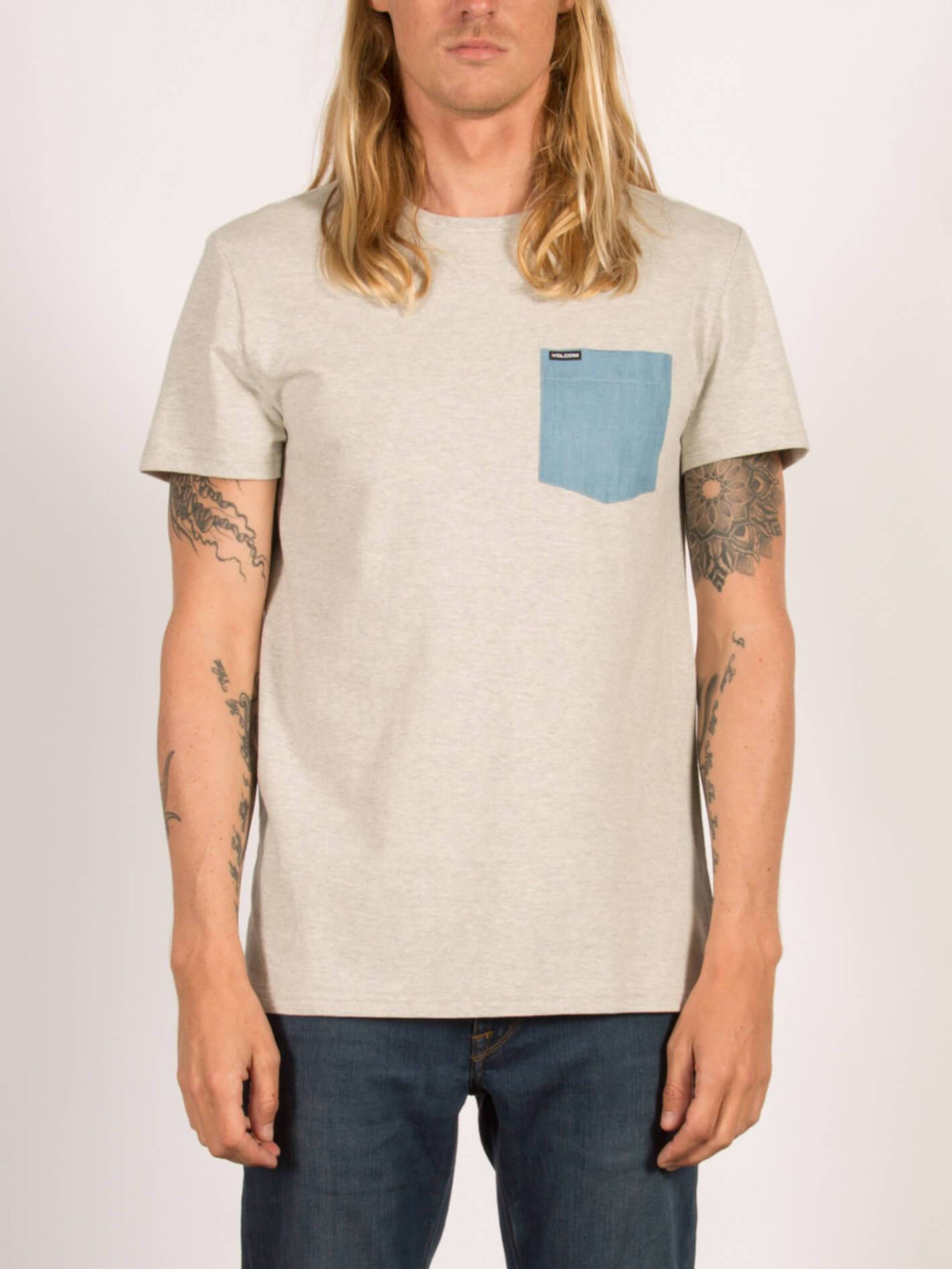 Pocket T-Shirt Contra - Heather Grey