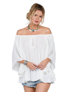 Shirt Red Eye Off Shoulder - White